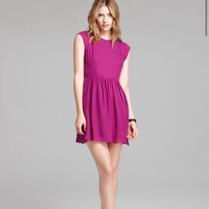 Rebecca Taylor Cap Sleeve A-Line Chiffon Dress